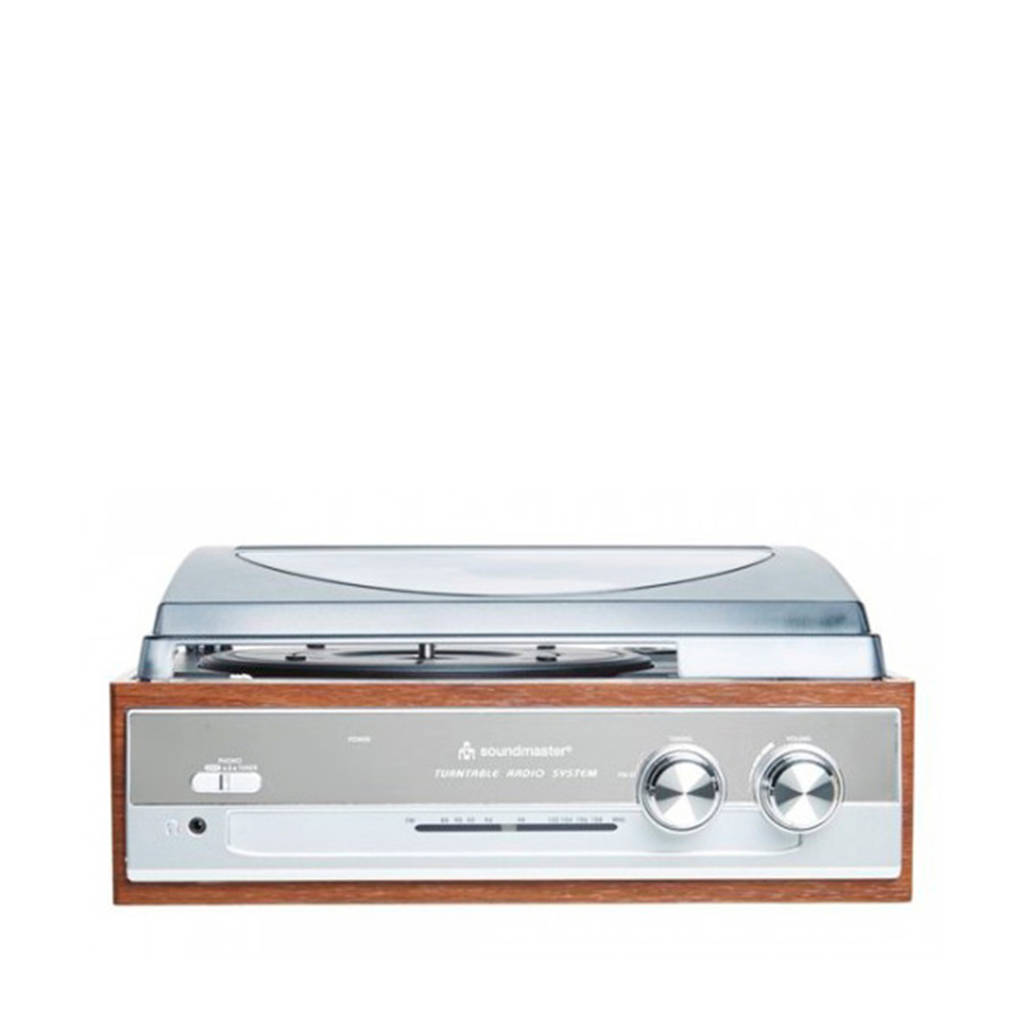Soundmaster PL186H retro platenspeler + radio, Bruin