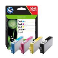 HP 364MULPACK inktcartridge (zwart+kleur), Zwart, Geel, Cyaan en Magenta