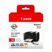 Canon PGI1500XL 5CL multipack inktcartridges (zwart+kleur), Zwart, Cyaan, Geel en Magenta