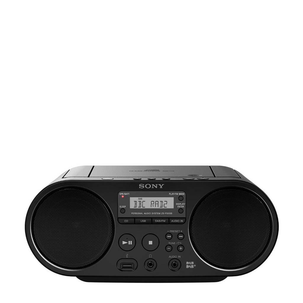 Sony ZSPS55B CED radio + CD speler zwart, Zwart
