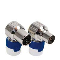 Hirschmann coax connectoren, Blauw, wit