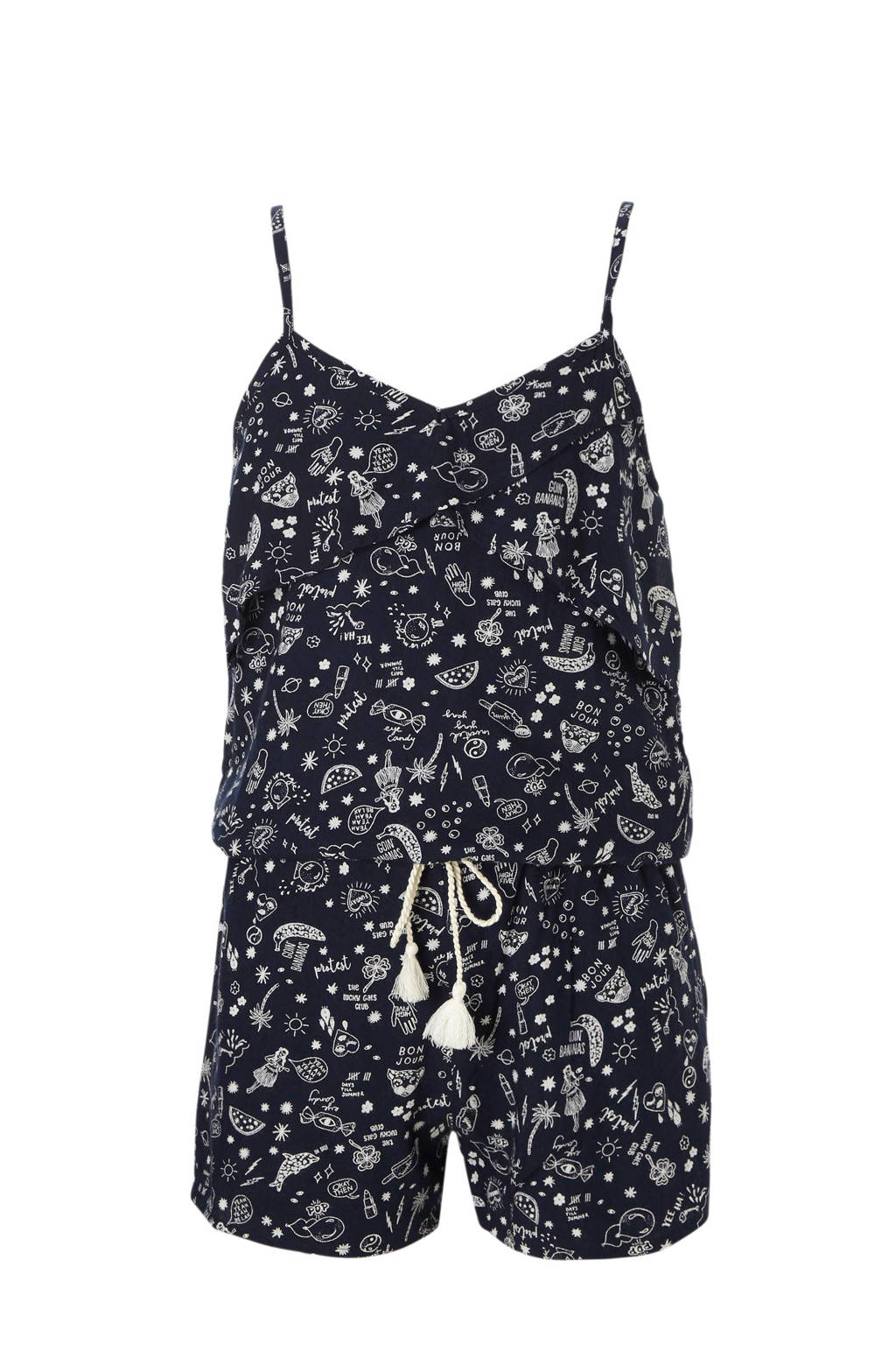 Protest playsuit Adina met all over print blauw, Donkerblauw