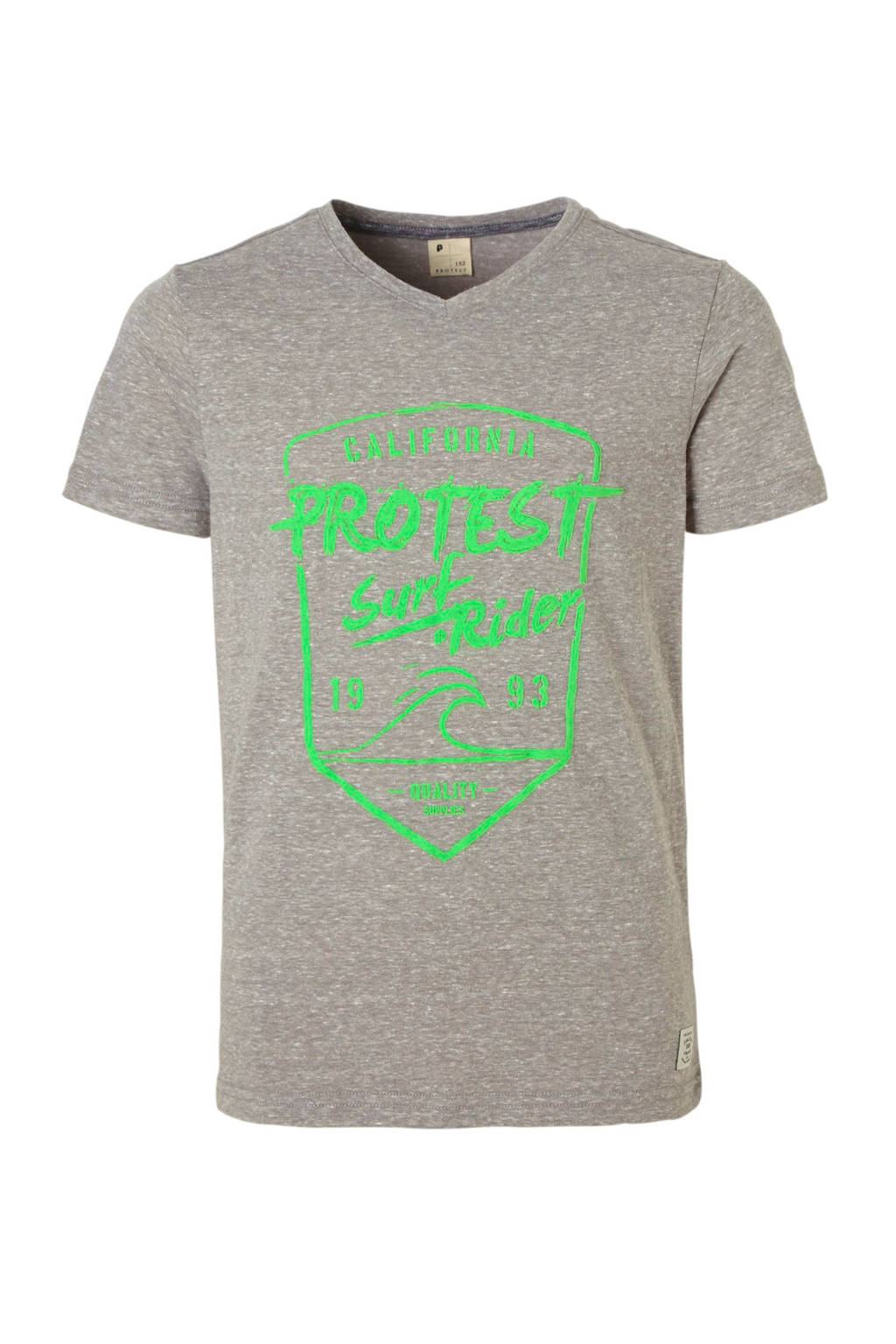 Protest T-shirt met print Everton grijs melange, Grijs melange