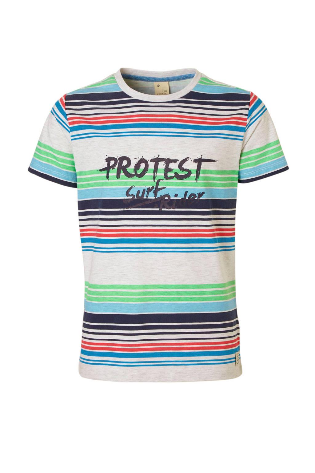 Protest gestreept T-shirt met tekst Felton blauw, Blauw/wit/groen