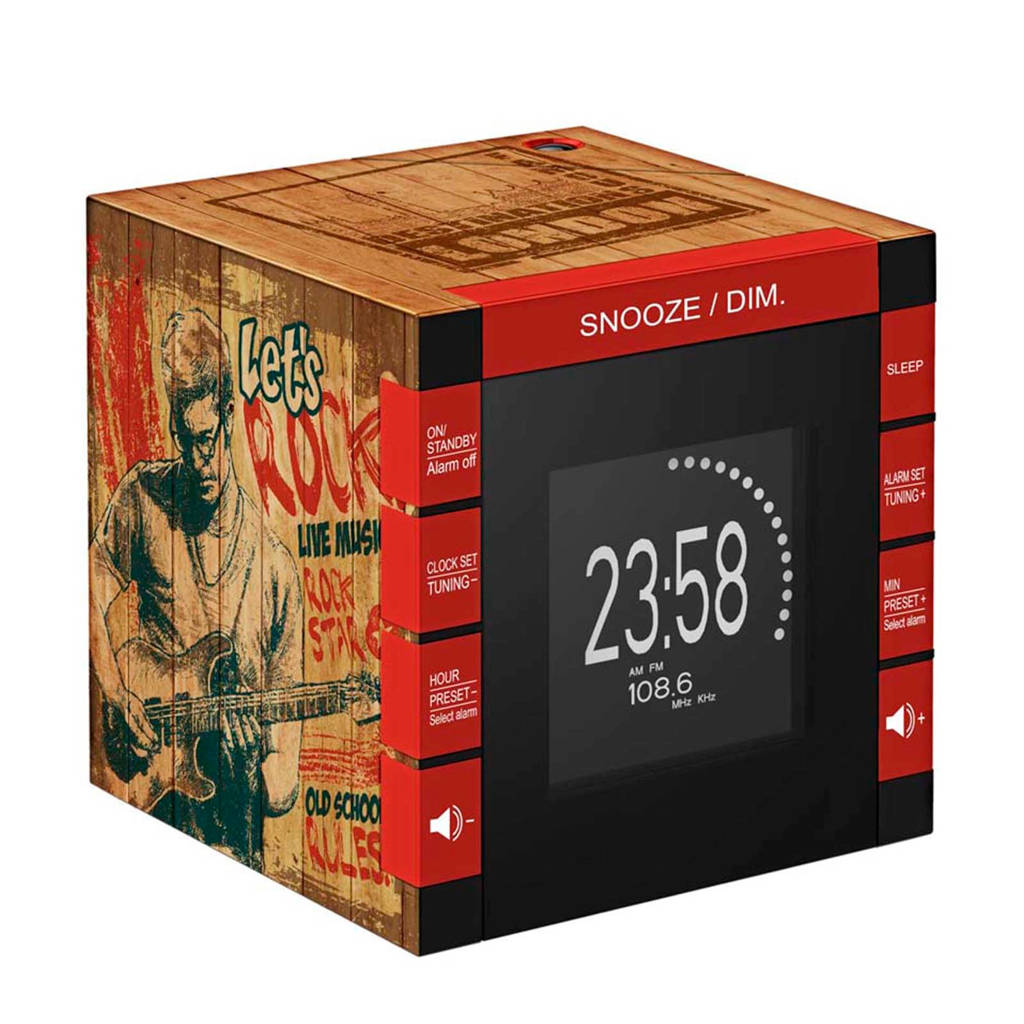 BigBen RR70PROCKWOOD radio klok, Zwart, bruin, rood