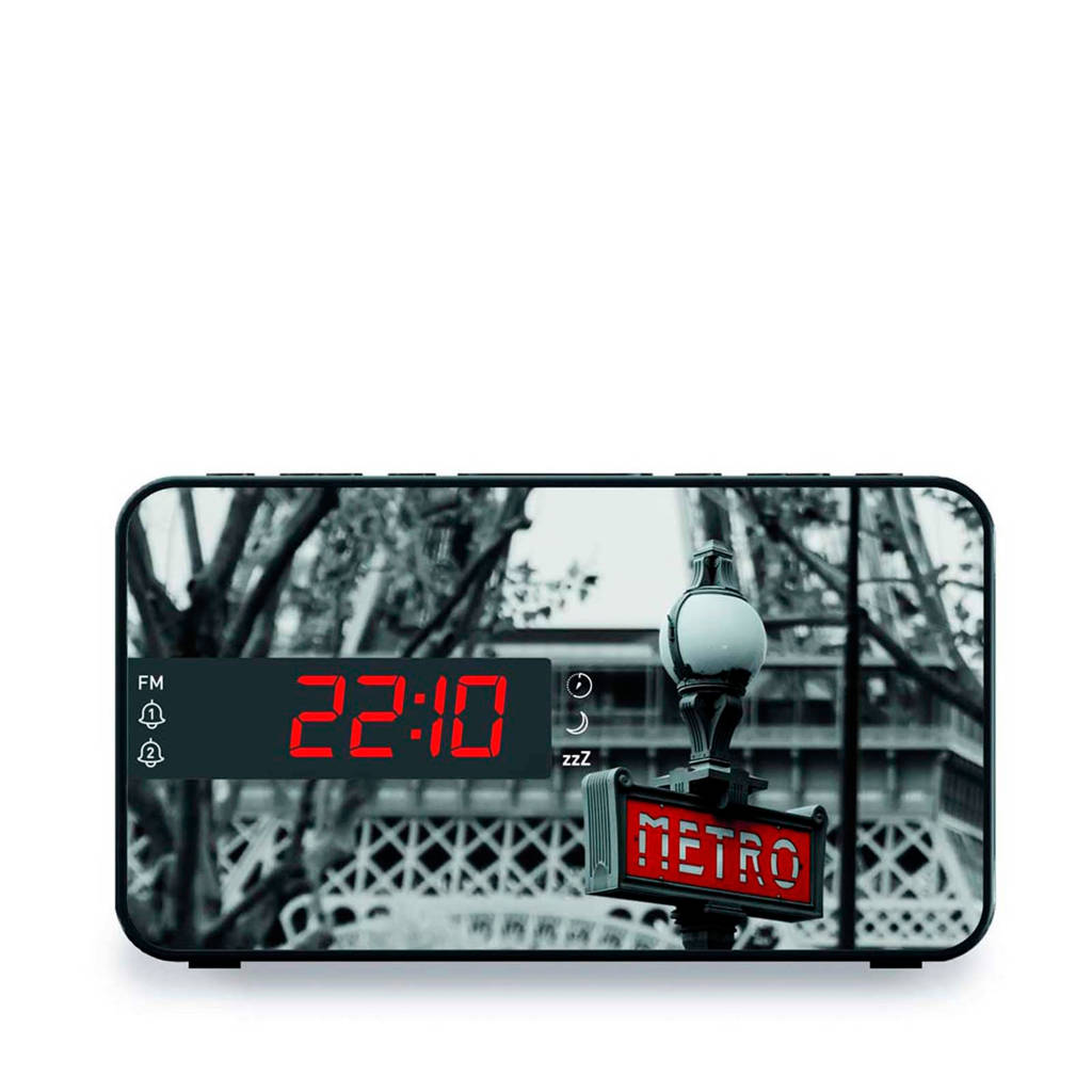 BigBen RR15METRO wekkerradio met LED display, Zwart, wit