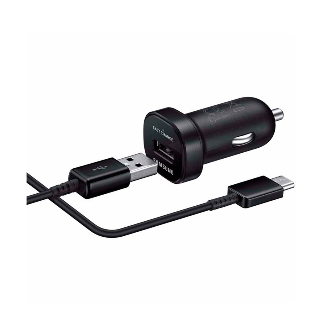 Samsung mini autolader (fast-charging) + USB-C kabel, Zwart