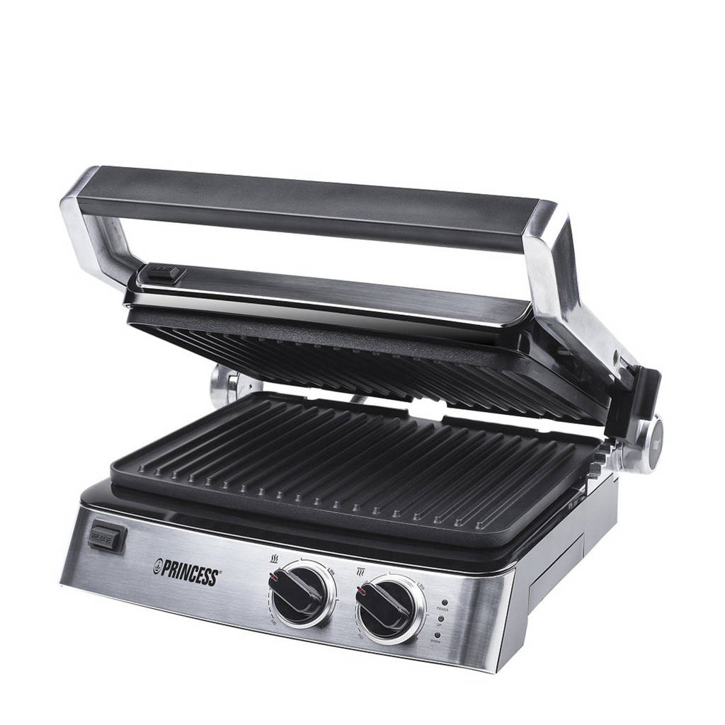 Princess contact grill - 117300, Zilver, Zwart