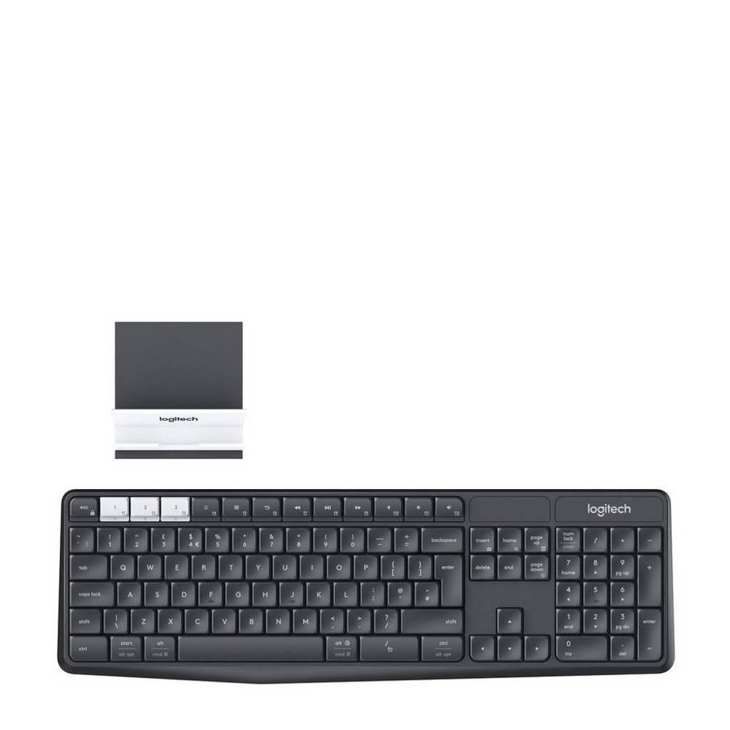 Logitech K375s multi-device draadloos toetsenbord en telefoonhouder, Zwart