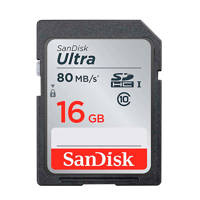 Sandisk SDHC Ultra 16GB 80MB/s CL10 geheugenkaart