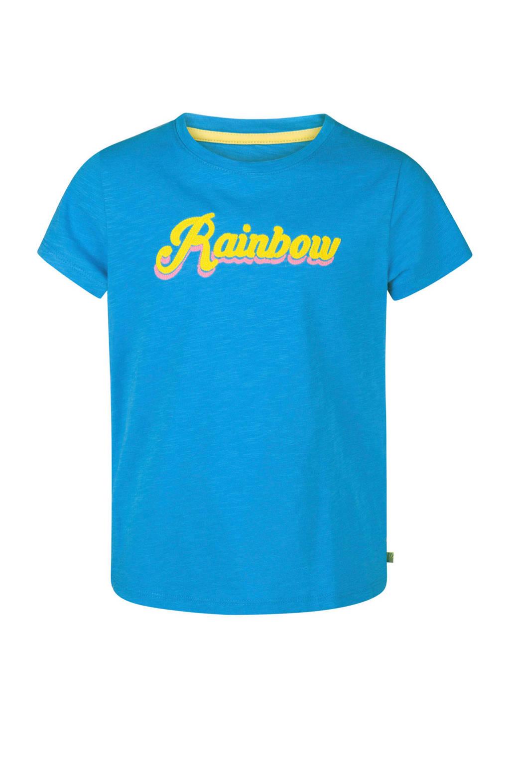 WE Fashion T-shirt met tekst blauw, Blauw