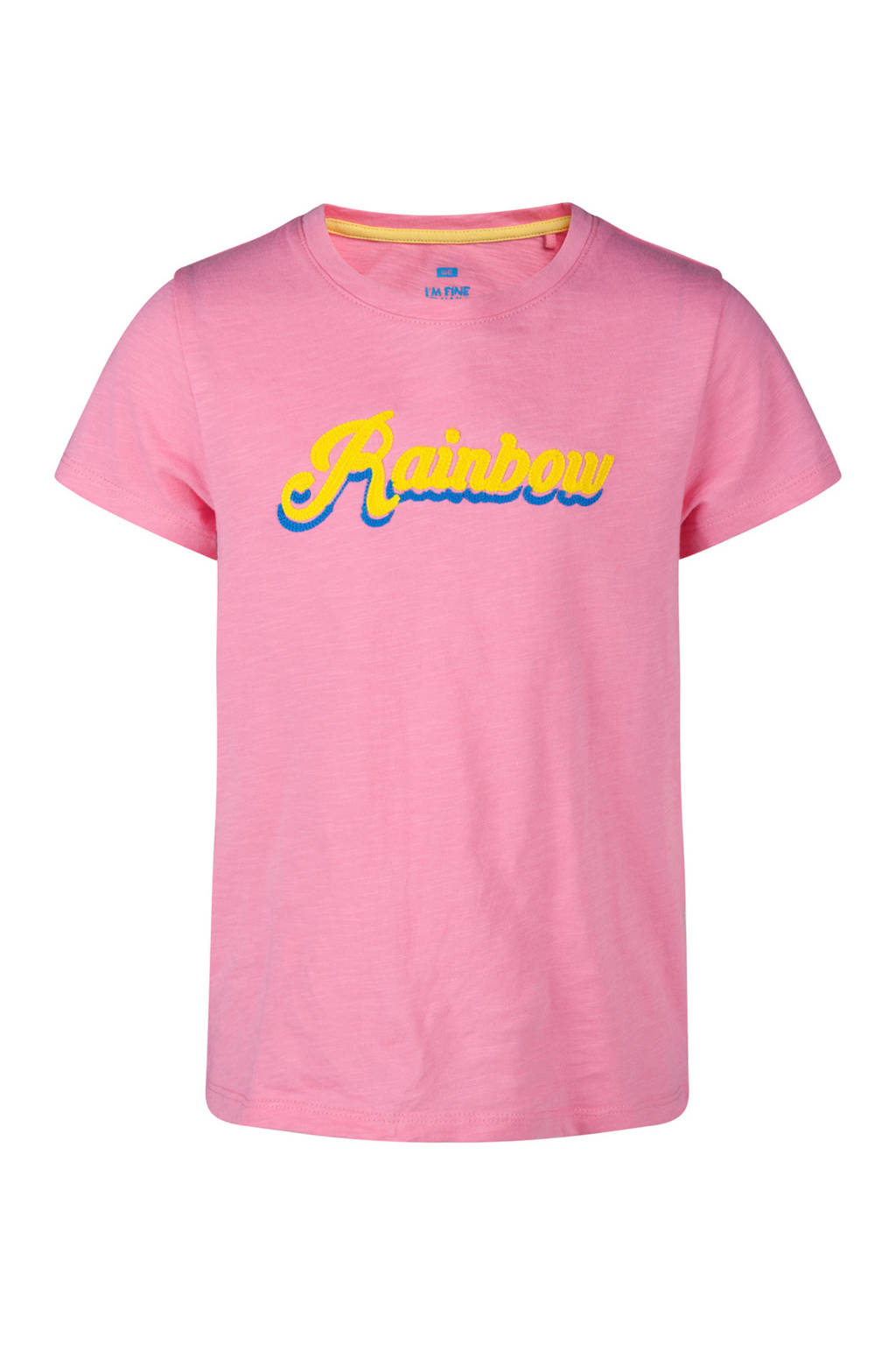 WE Fashion T-shirt met tekst roze, Roze