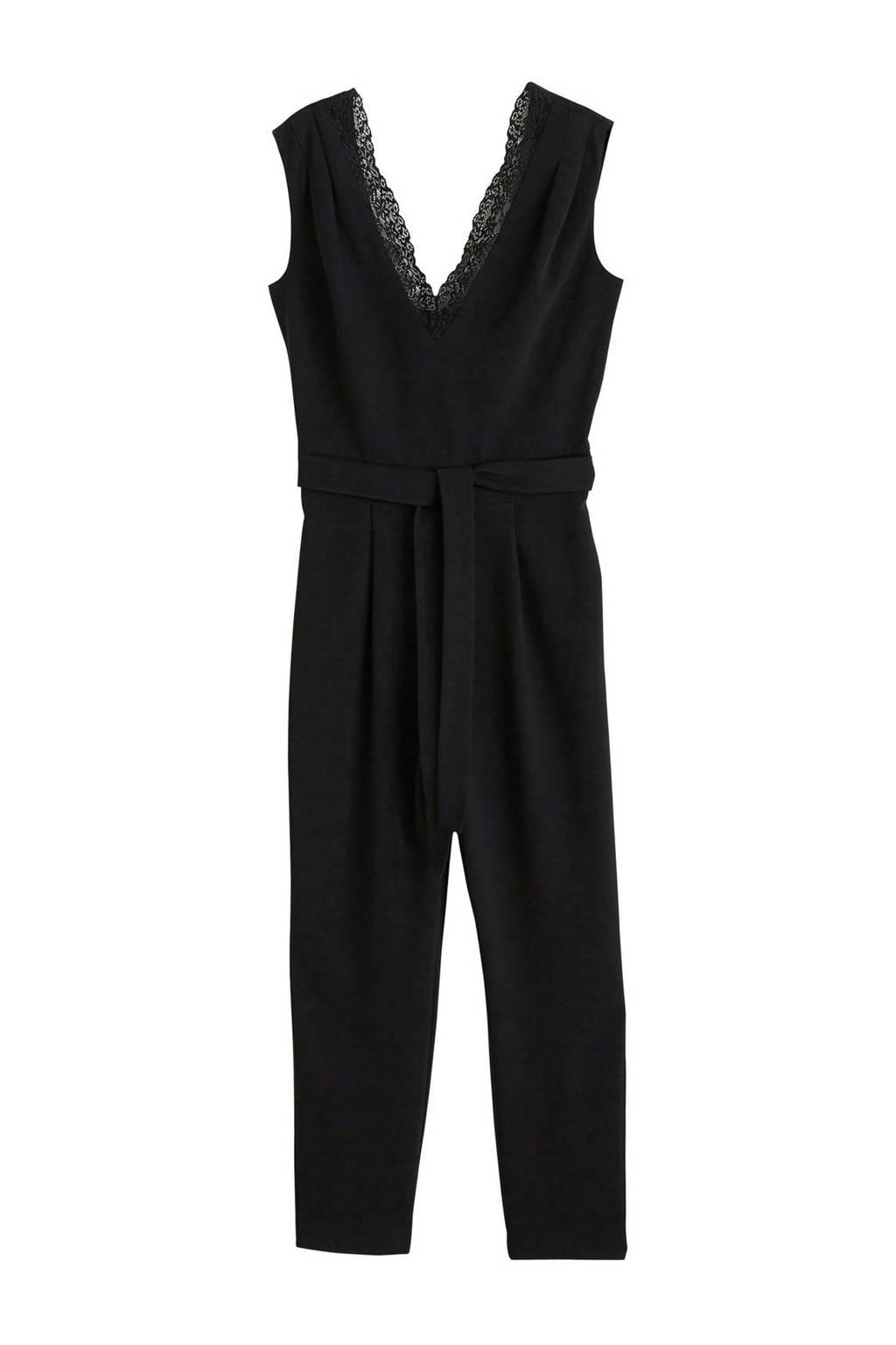 Mango jumpsuit met kant zwart, Zwart