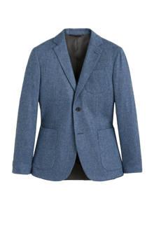 slim fit colbert met wol blauw
