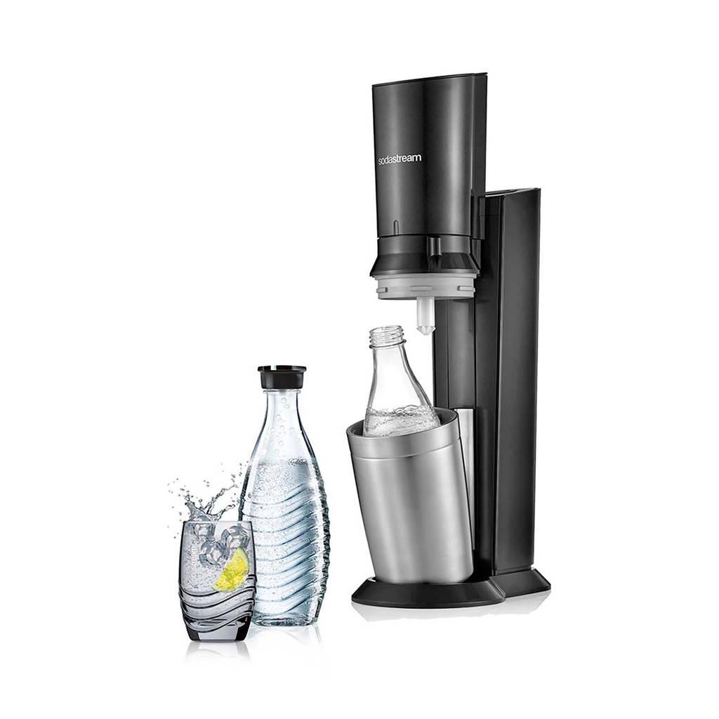 Sodastream CRYSTAL BLACK +2 BOT SodaStream soda maker Crystalmet 2 karaffen, Zwart, Roestvrijstaal