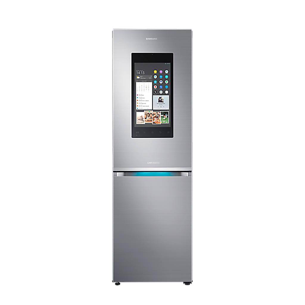 Samsung RB38M7998S4 Family Hub koelvriescombinatie, Easy clean RVS deur, zijkant zilver