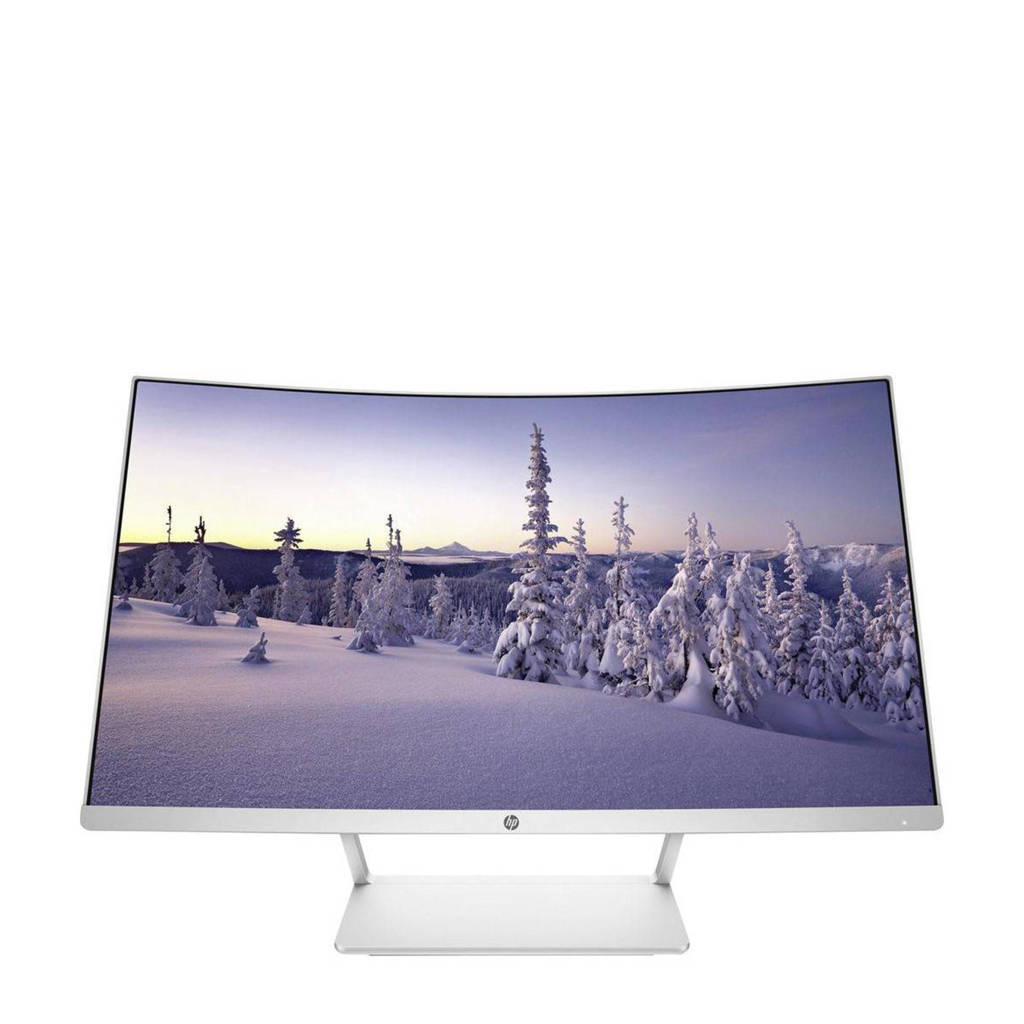 HP 27 Curved 27 inch monitor, Zilver, wit