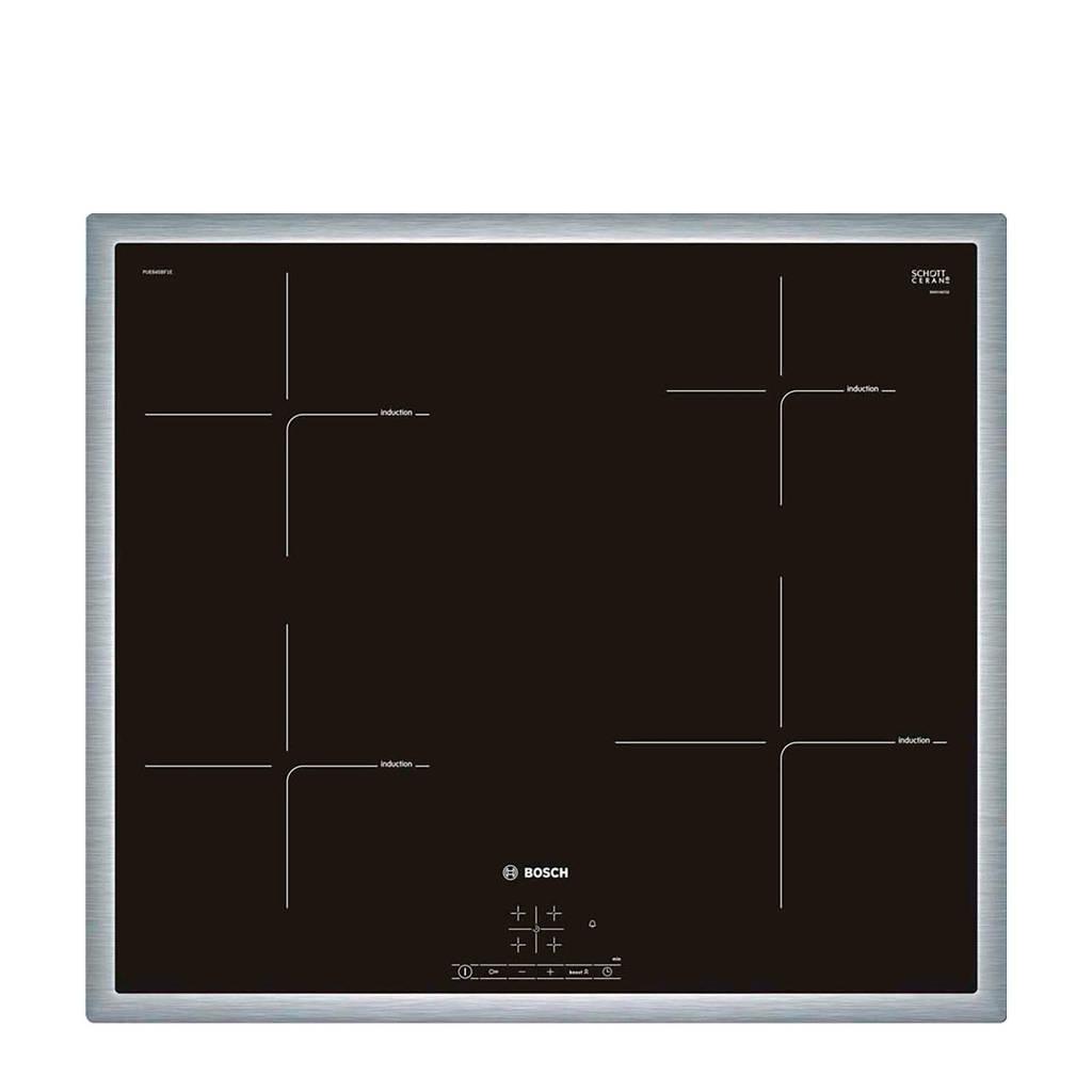 Bosch PUE645BF1E inbouw inductie kookplaat, Zwart/ Roestvrij staal