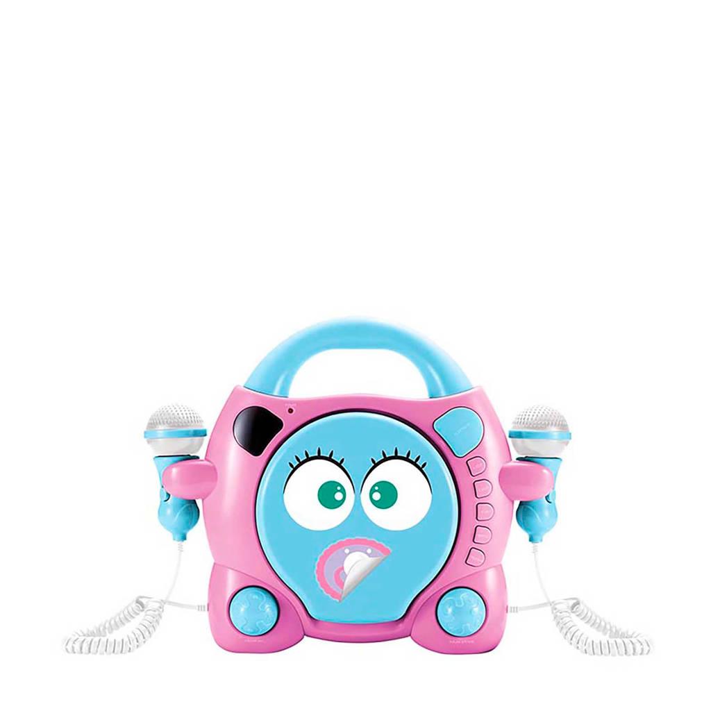 BigBen draagbare CD speler met karaokefunctie, Blauw, roze