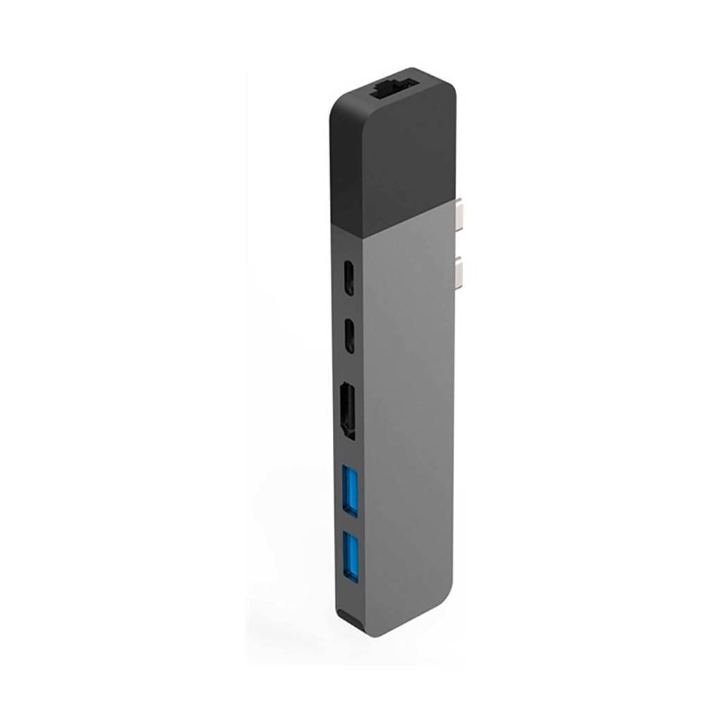 Hyper NET HUB USB-C PRO GRAY hub voor de USB-C MacBook Pro, Zwart, zilver