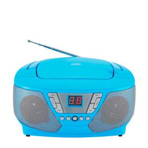 CD60BLSTICK draagbare radio CD speler met stickers blauw