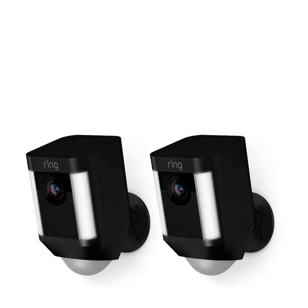 Ring SPOTLIGHT CAM BATTERY - BLACK - DUOPACK beveiligingscamera, Zwart