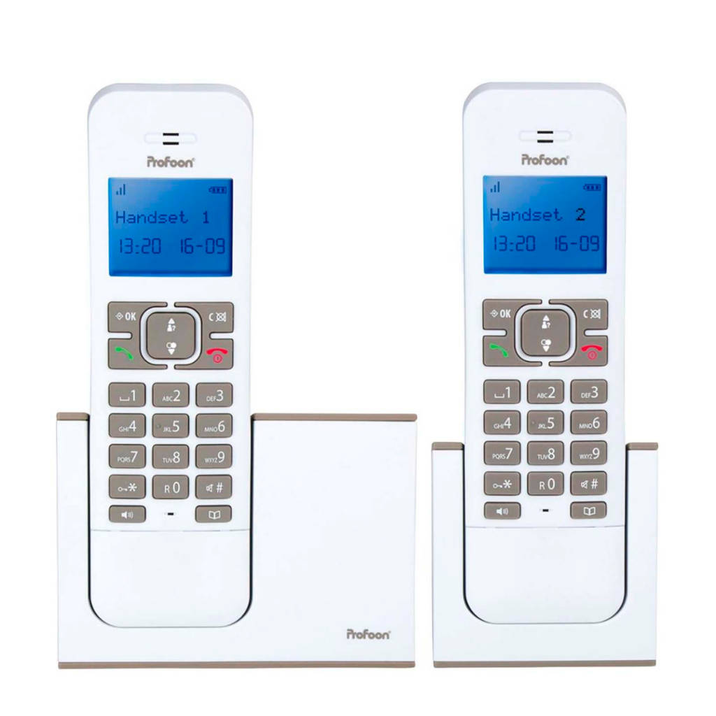 Profoon PDX-8420 WT/TE Huistelefoon, Grijs, wit