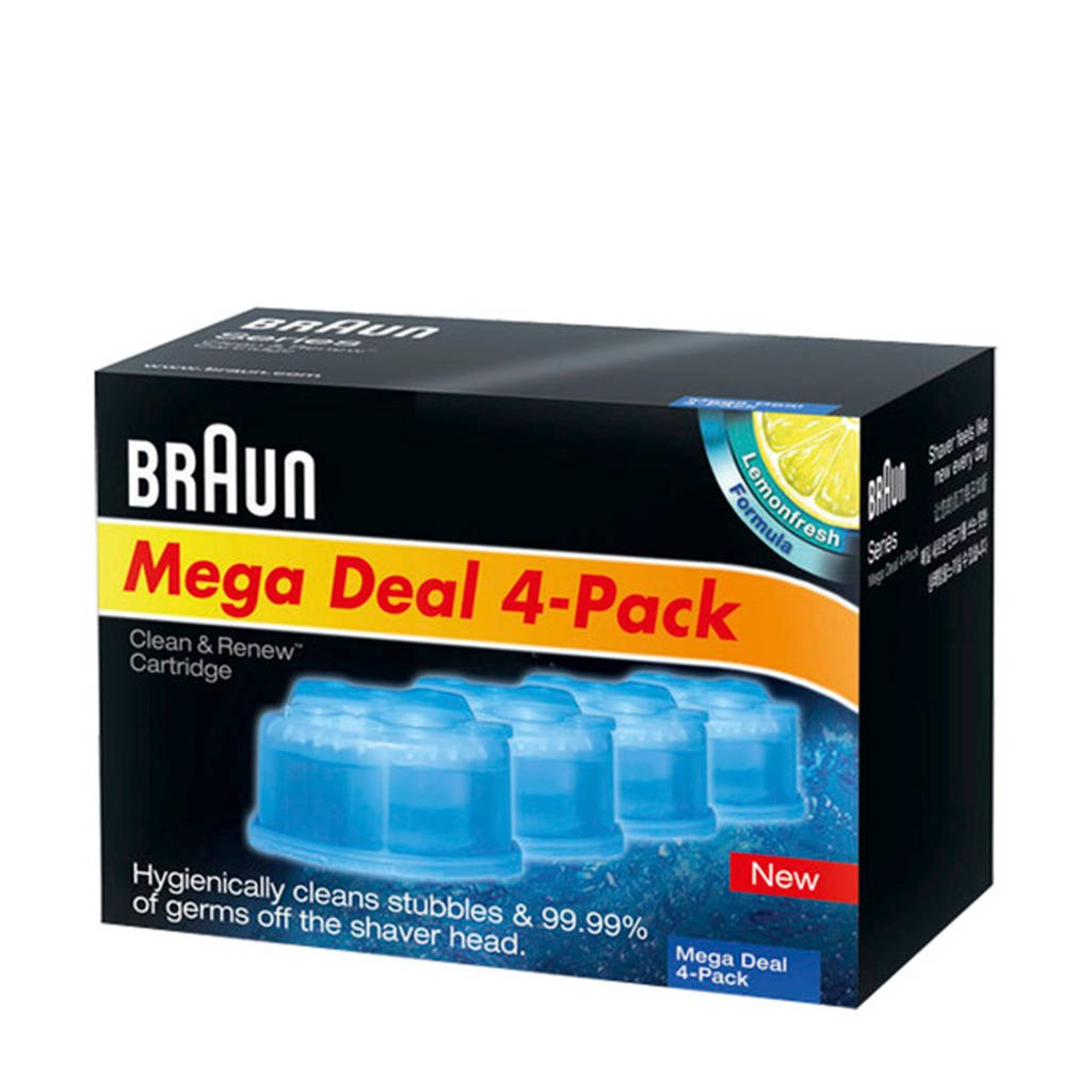 Braun Clean&Renew reinigingsvloeistof - 4 stuks, Blue,Translucent