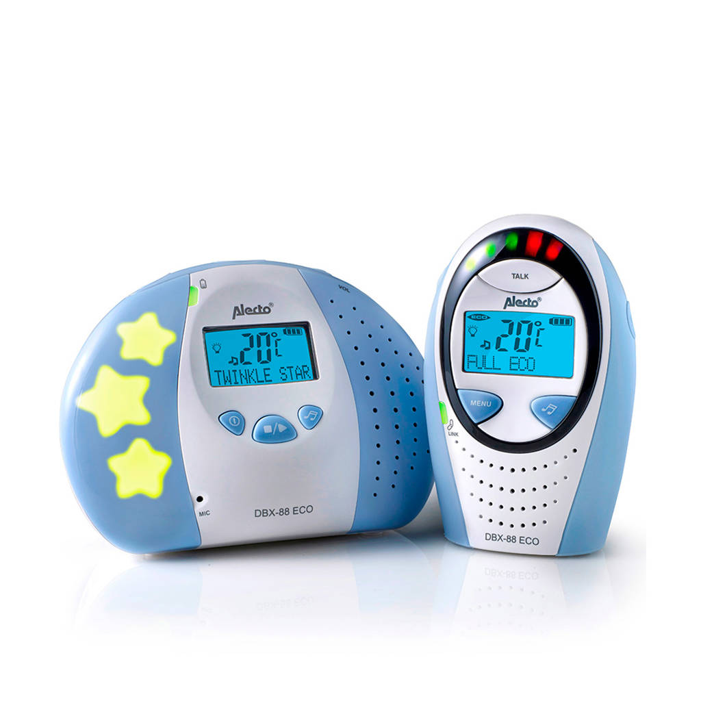 Alecto DBX-88 eco DECT babyfoon met display, Blauw, wit