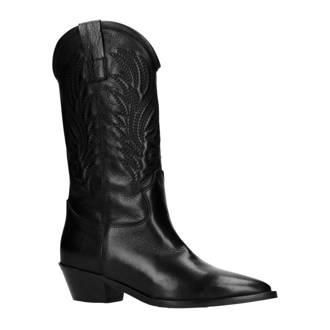 leren cowboy laarzen zwart