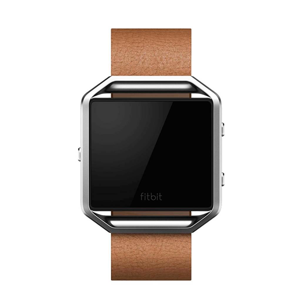 Fitbit leren horlogeband, Beige, Zilver