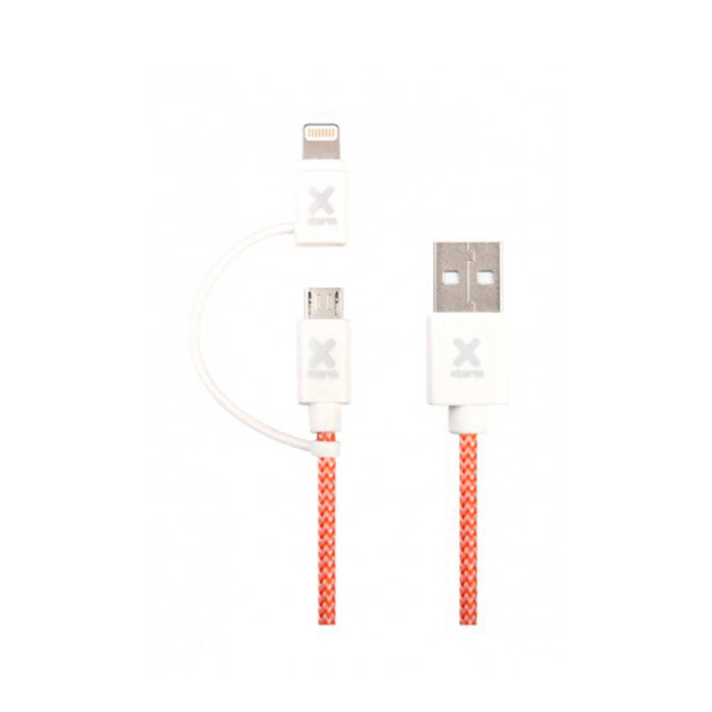 Xtorm micro- / lightning usb-kabel, Wit, Rood, Zilver