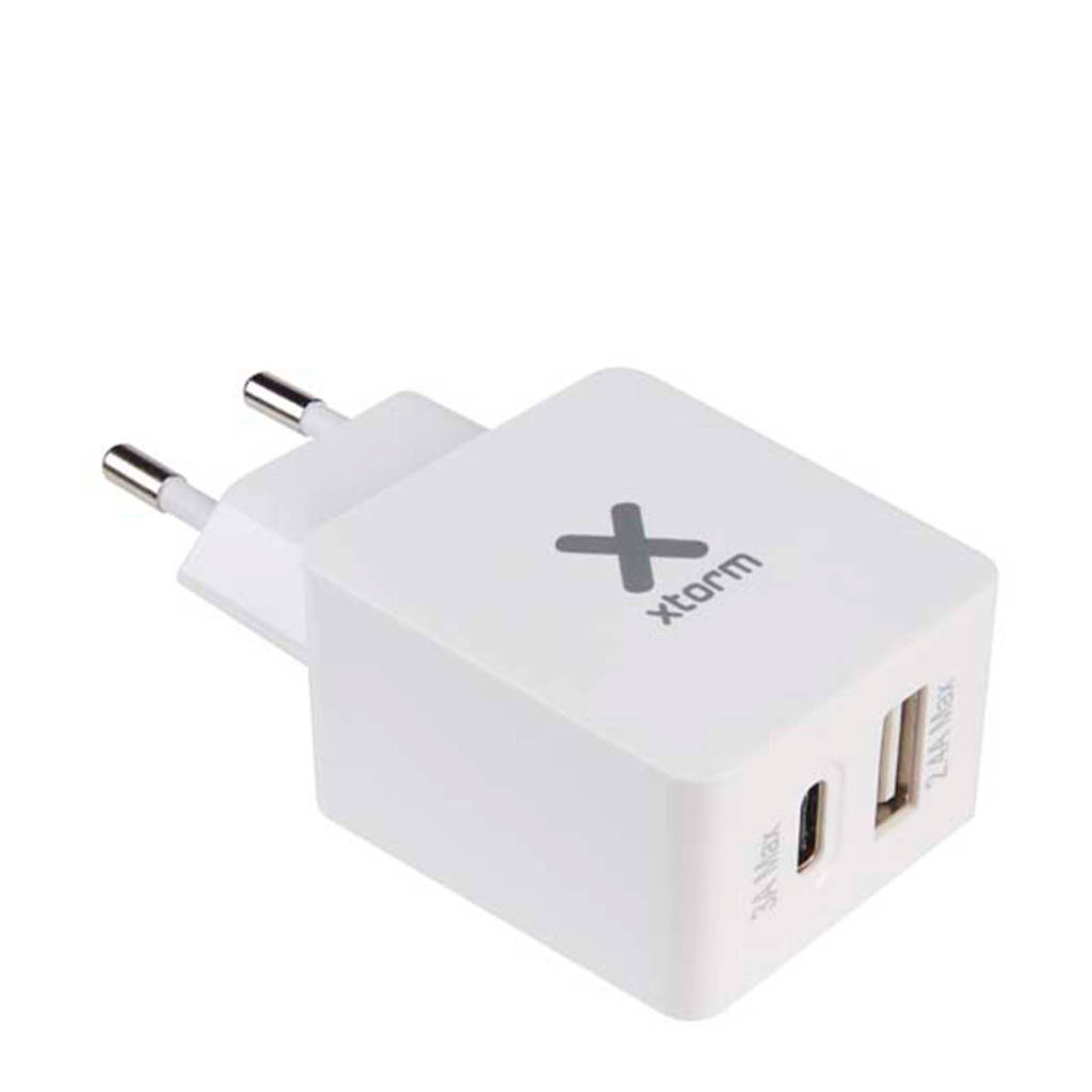 Xtorm AC adapter USB+USB-C, Wit
