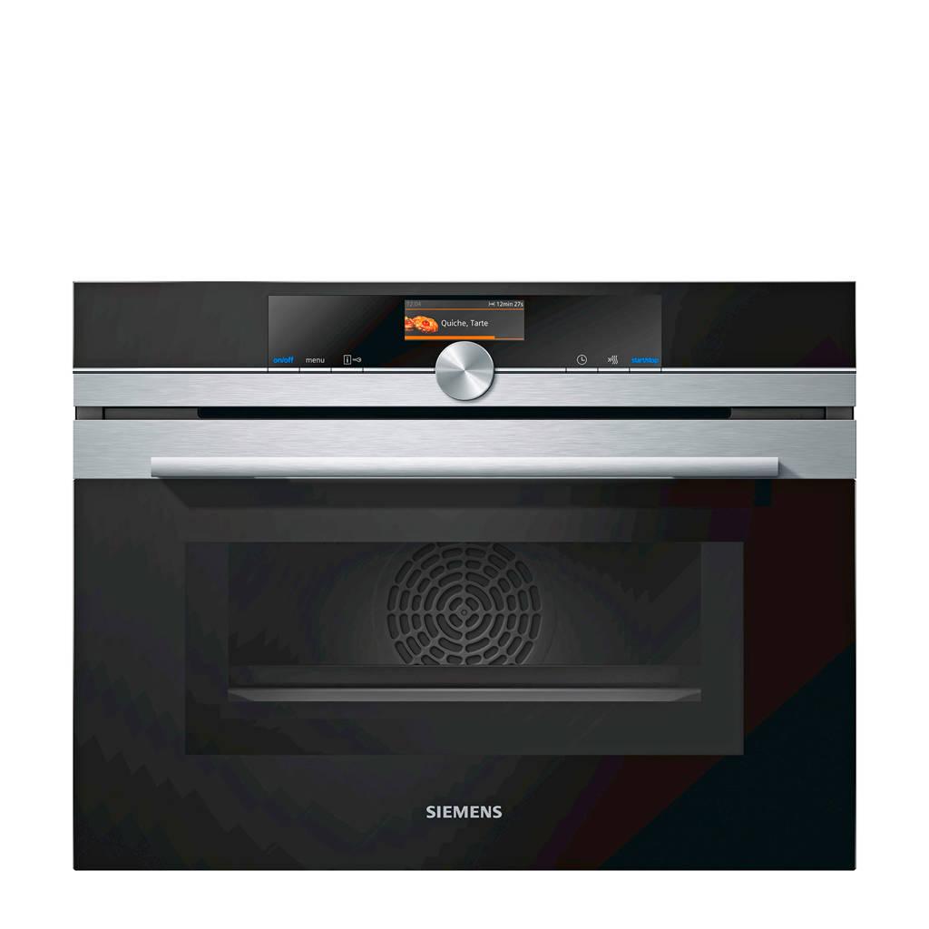 Siemens CM636GNS1 inbouw oven met magnetron, Roestvrij staal, Zwart