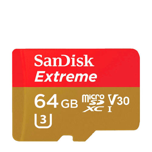SanDisk 64 GB microSDXC-kaart Class 10, UHS-I, UHS-Class 3, v30 Video Speed Class incl. SD-adapter