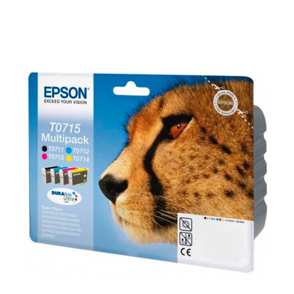 Epson T0715 MULTIPACK cartridge's (zwart+kleur), Zwart, Cyaan, Magenta en Geel