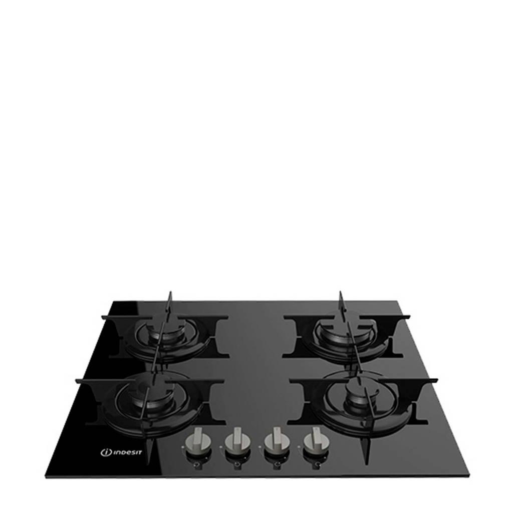 Indesit PR 642 /I(BK) inbouw gas op glas kookplaat, Zwart