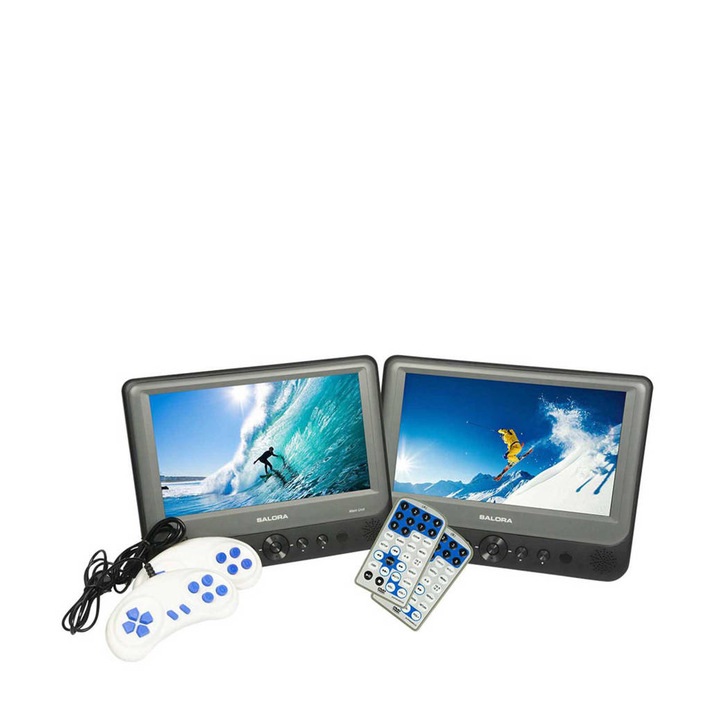Salora DVP9948DUO+GC portable DVD-speler met 2 schermen/2 spelers, Grijs