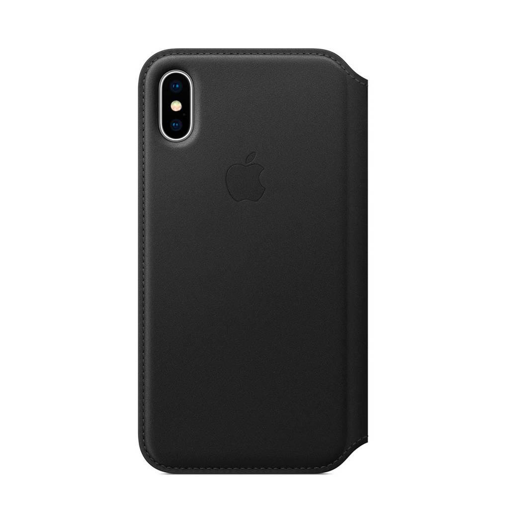 Apple iPhone X leren flipcover, Zwart