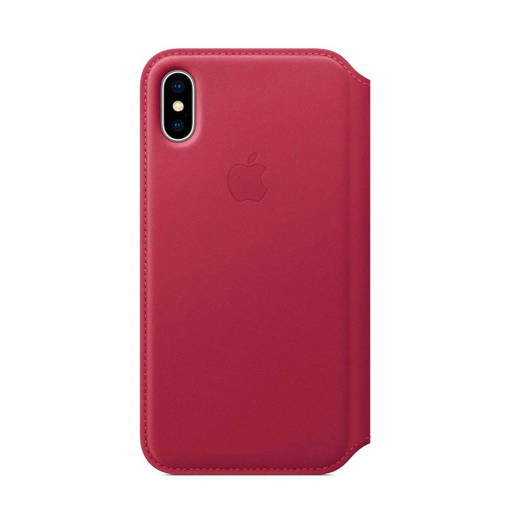 Apple iPhone X leren flipcover, Rood