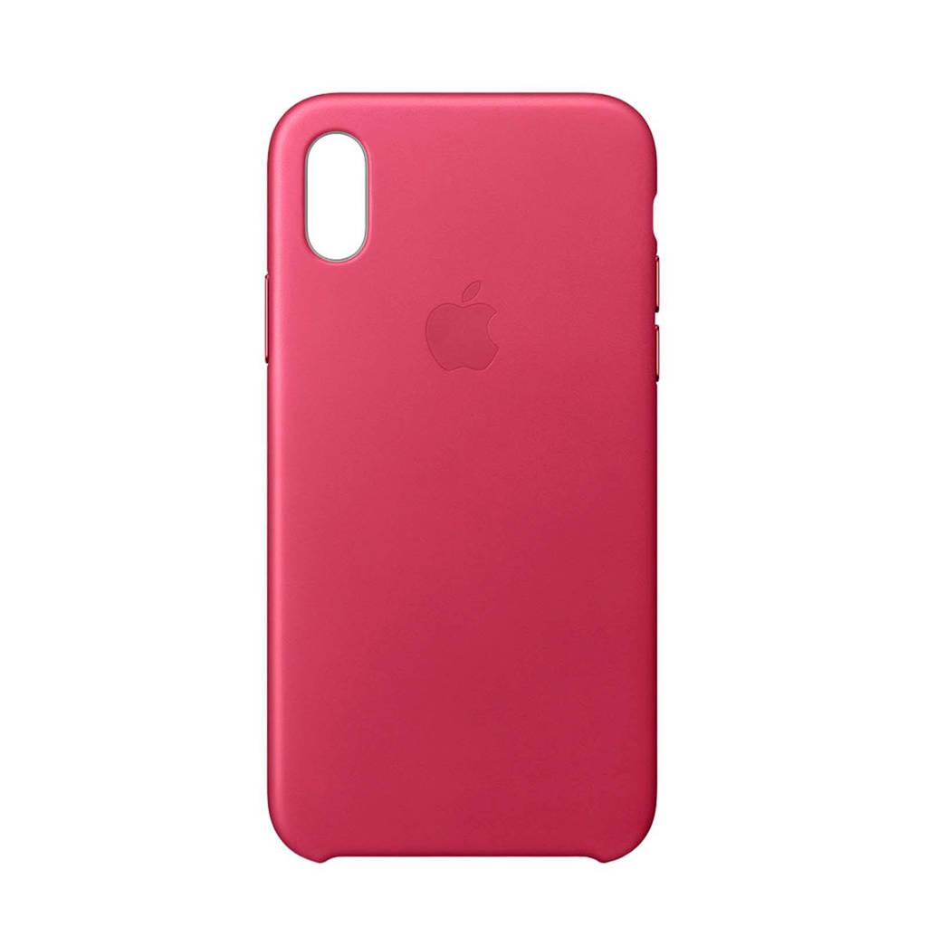 Apple iPhone X leren backcover, Fuchsiaroze