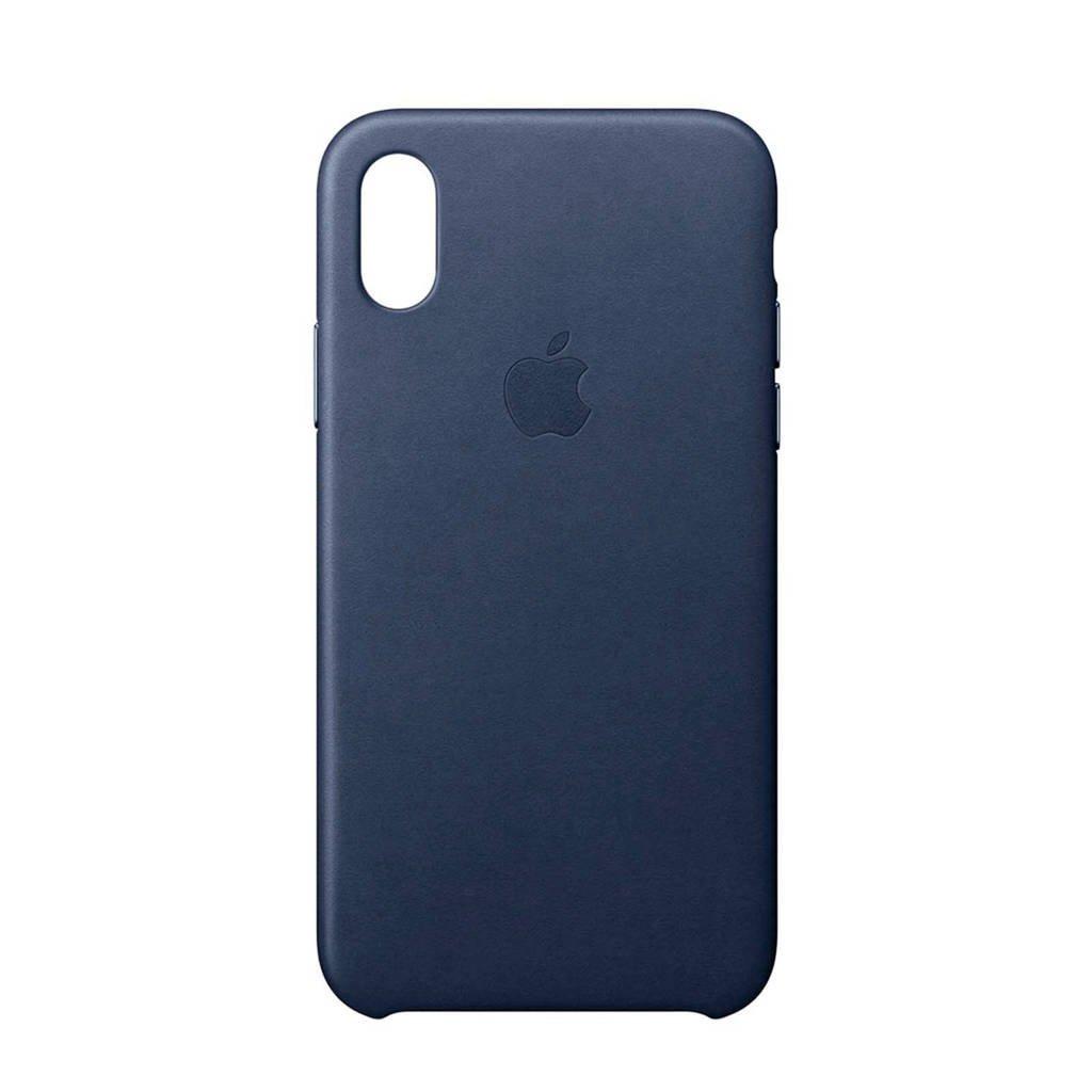 Apple iPhone X leren backcover, Middernachtblauw