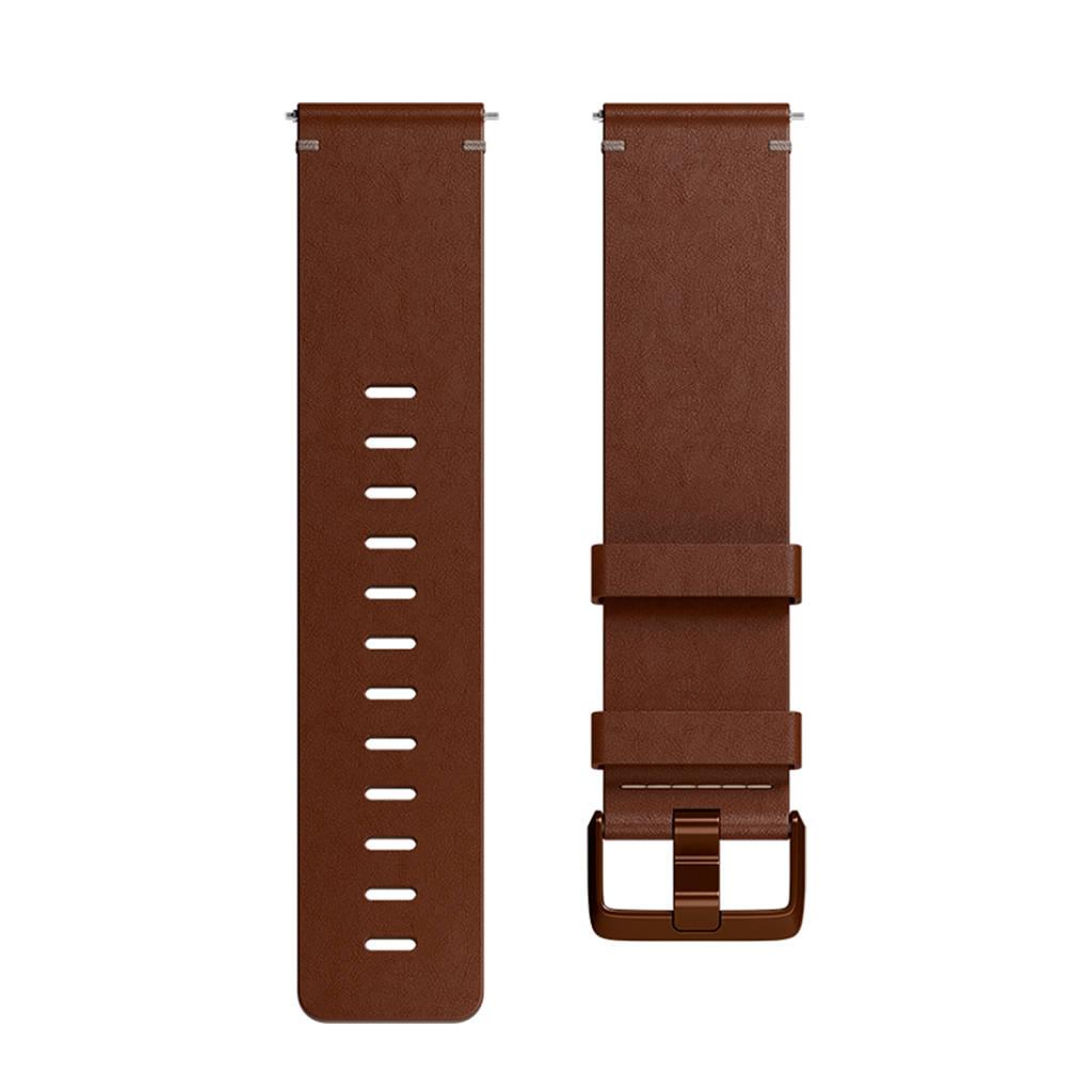 Fitbit Versa leren polsband Large (Bruin)