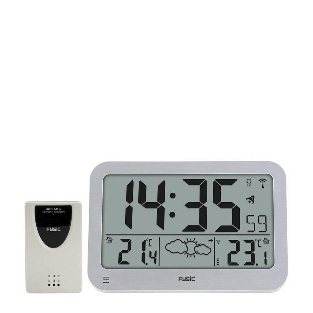 Fysic FKW-2200 jumbo klok met weerstation, Zilver, wit
