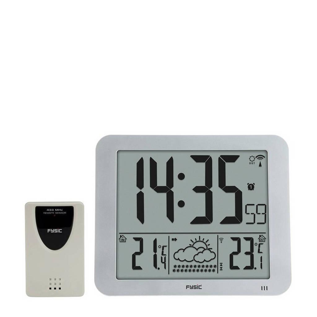 Fysic FKW-2500 jumbo klok met weerstation, Zilver, wit