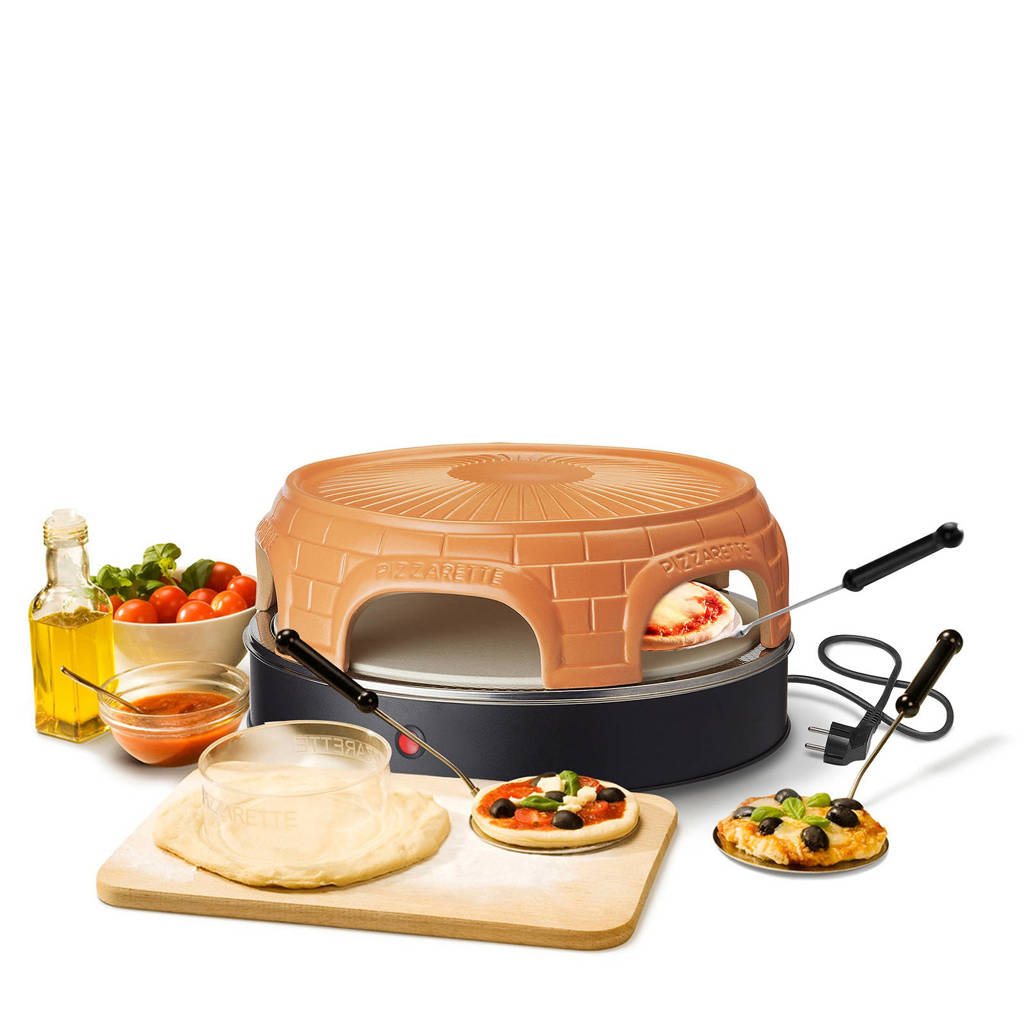 Emerio Stone Keep Warm pizzarette, 6 persoons, Terracotta/zwart
