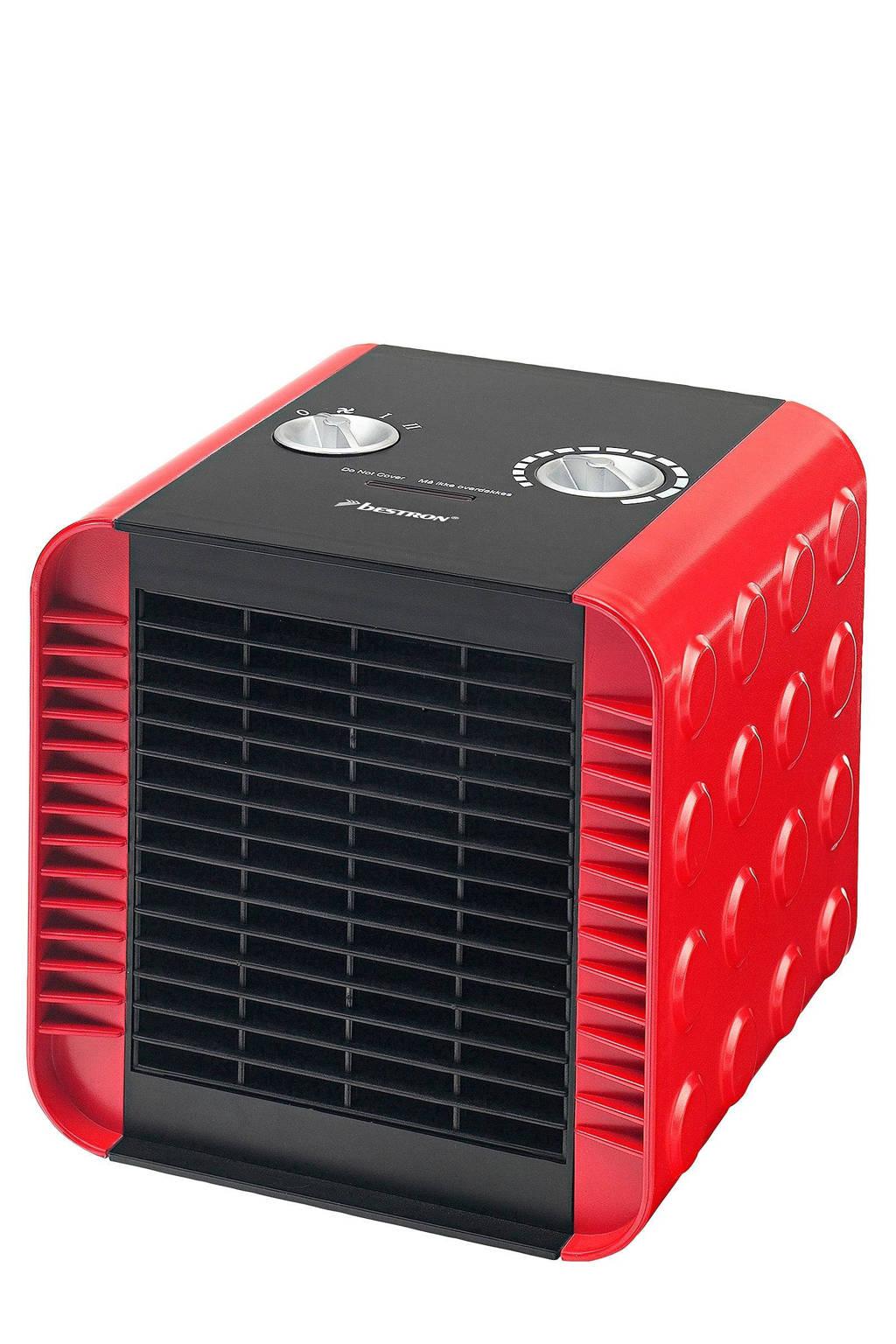 Bestron ACH1500R keramische ventilatorkachel, Zwart, Rood