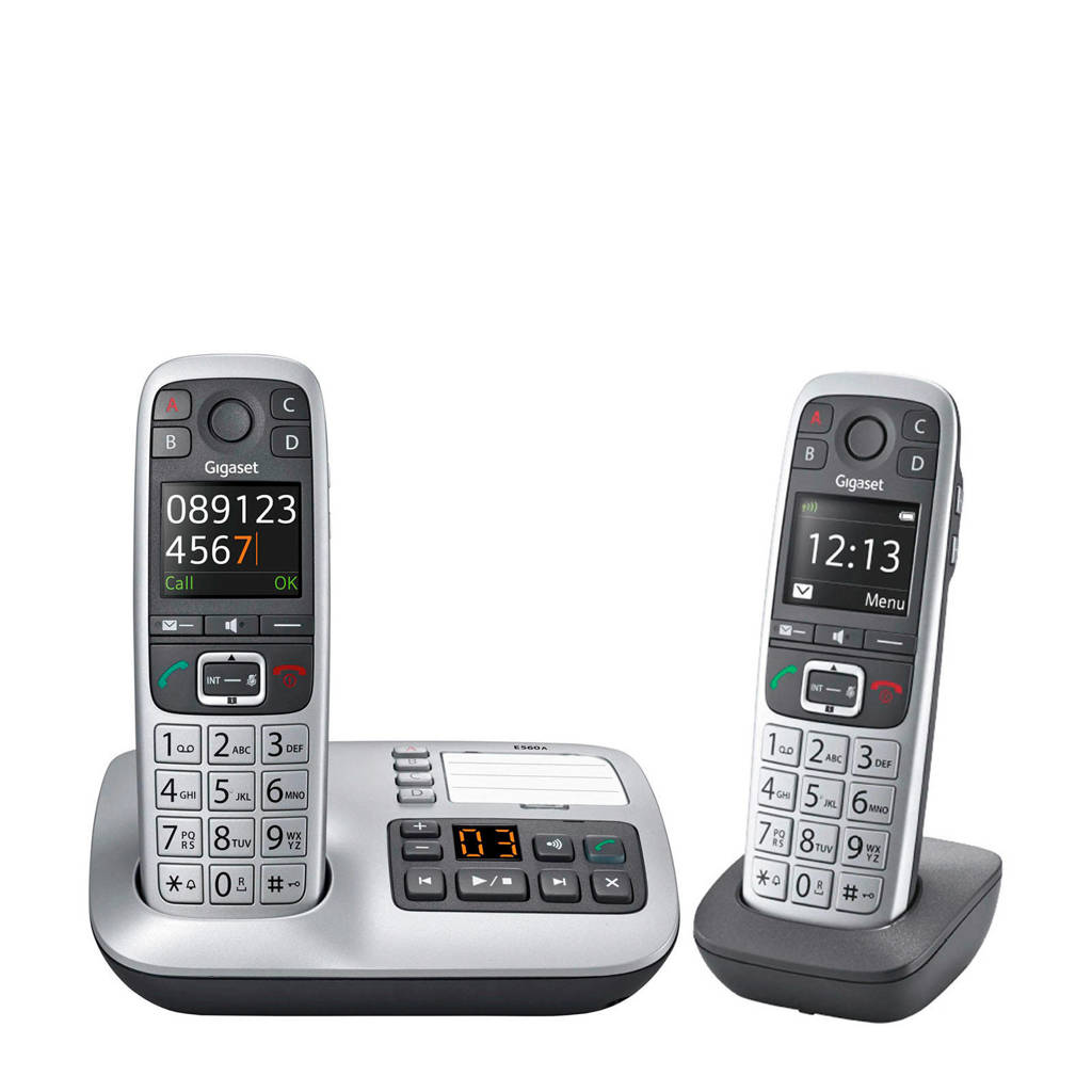 Gigaset E560ADUO huistelefoon, Zilver, Zwart