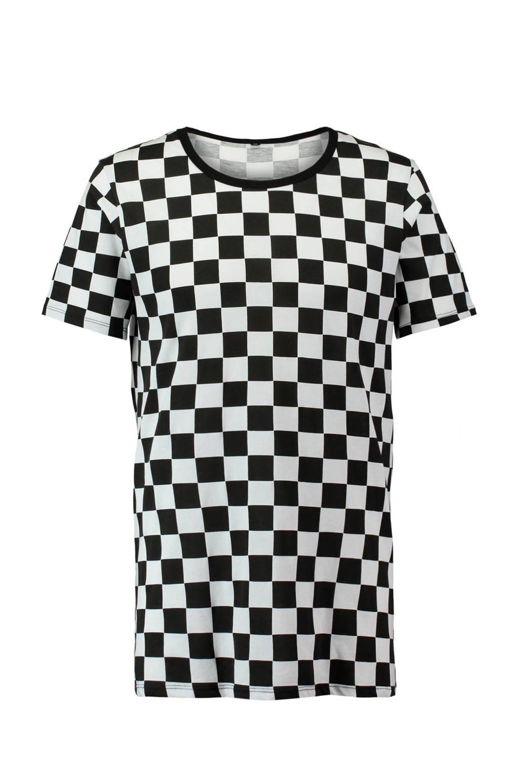 Zwart Wit Geruit Overhemd.Coolcat T Shirt Met Geblokt Patroon Zwart Wit Wehkamp