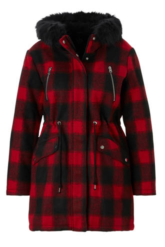 XL Clockhouse geruite coat rood